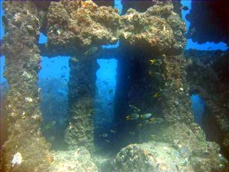 Engine block of MS Globe Star, near Mombasa Harbour